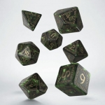 Q-Workshop Runic Bottle-green & gold Dice Set